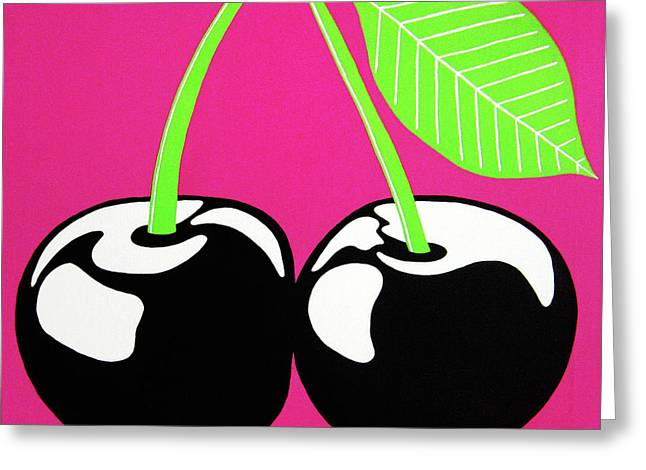 Very Cherry Greeting Card by Oliver Johnston