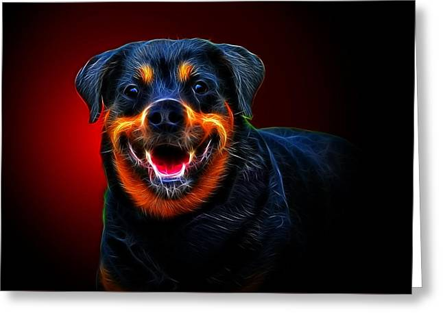 Guard Dog Greeting Cards - Very Merry Rottweiler Greeting Card by Alexey Bazhan