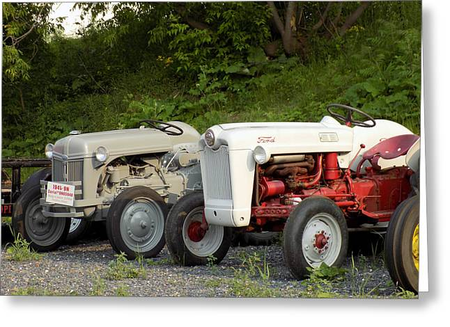 Maine Agriculture Greeting Cards - Very Old Ford Tractors Greeting Card by William Tasker