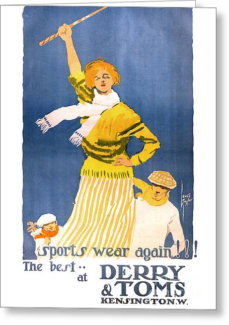 Europe Mixed Media Greeting Cards - Very rare Derry and Toms Vintage Poster Restored Greeting Card by Carsten Reisinger