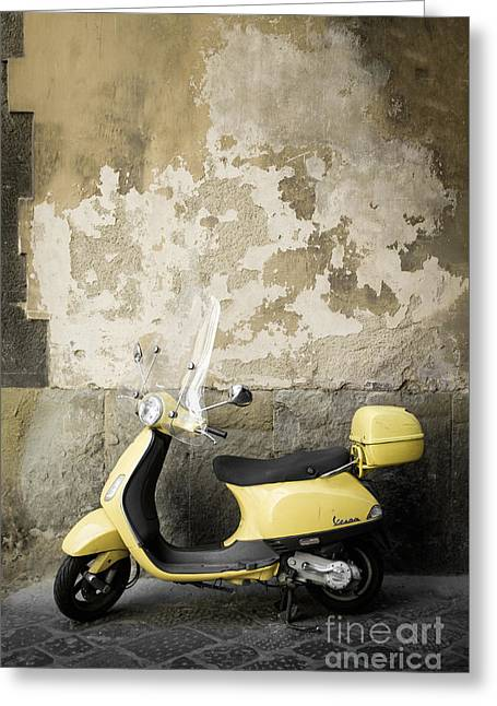 Motor Scooters Greeting Cards - Vespa Motorscooter Florence Italy Greeting Card by Edward Fielding