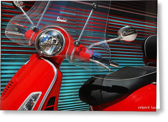 Motor Scooters Greeting Cards - Vespa Greeting Card by Robert Lacy