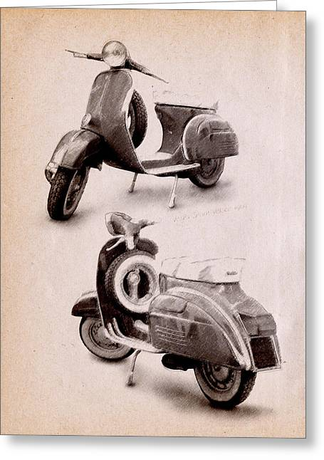 Italy Greeting Cards - Vespa Scooter 1969 Greeting Card by Michael Tompsett