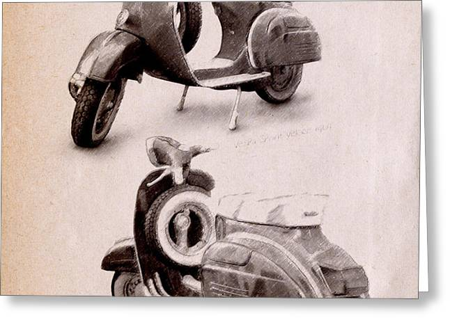Vespa Scooter 1969 Greeting Card by Michael Tompsett