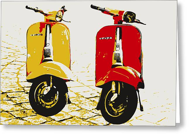 Arts Greeting Cards - Vespa Scooter Pop Art Greeting Card by Michael Tompsett