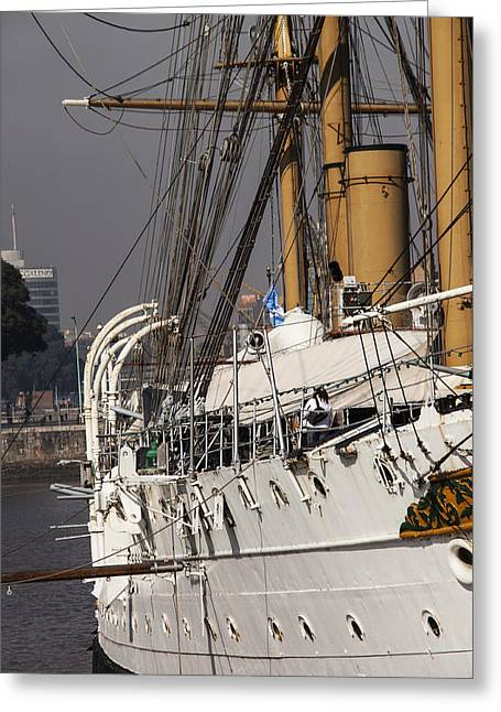 Historic Schooner Greeting Cards - Vessel Side Greeting Card by Hernan Caputo