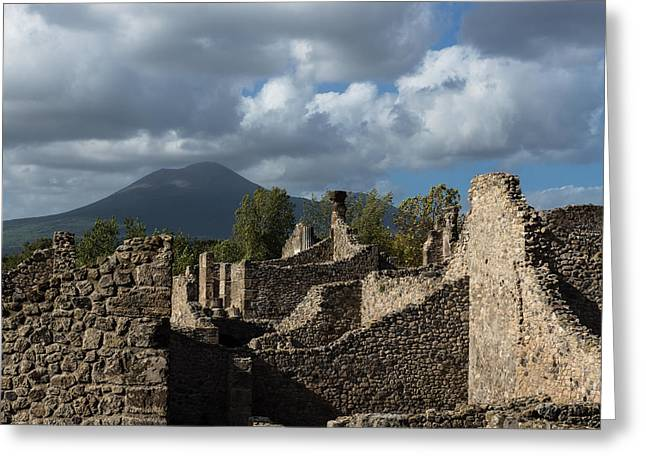 Turbulent Skies Greeting Cards - Vesuvius Volcano Towering Over the Pompeii Ruins Greeting Card by Georgia Mizuleva