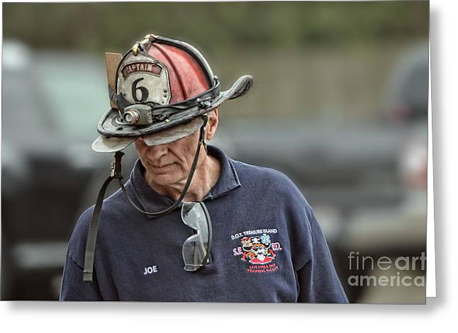 Fighters Greeting Cards - Veteran Fire Fighter Greeting Card by Jim Fitzpatrick