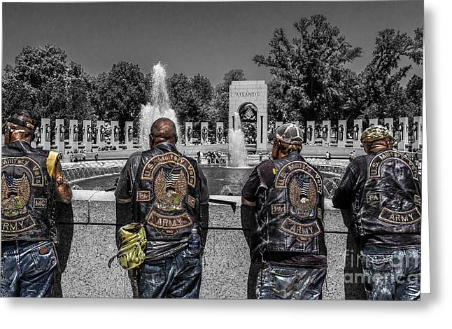 Veterans At The Wwii Memorial Greeting Card by Tom Gari Gallery-Three-Photography
