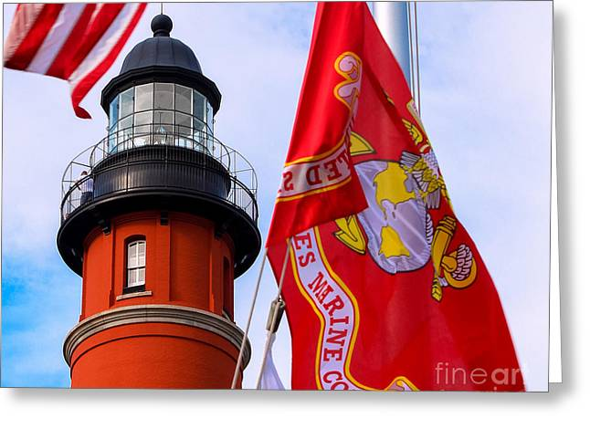 4th July Greeting Cards - Veterans Memorial Ponce De Leon Inlet Lighthouse Greeting Card by Rene Triay Photography