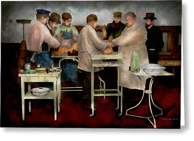 Table Greeting Cards - Veterinarian - Saving my best friend 1900s Greeting Card by Mike Savad