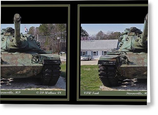 Vfw Tank - Gently Cross Your Eyes And Focus On The Middle Image Greeting Card by Brian Wallace
