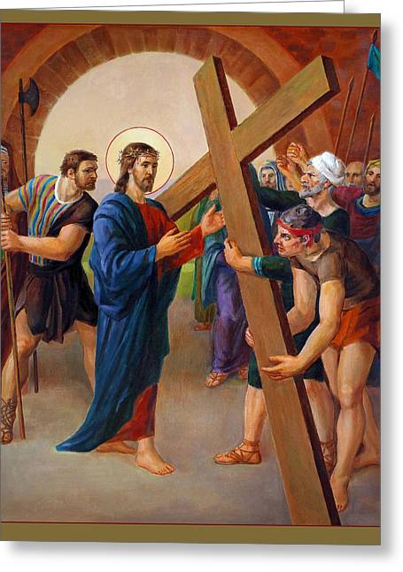 Cruz Greeting Cards - Via Dolorosa - Jesus takes up His Cross - 2 Greeting Card by Svitozar Nenyuk