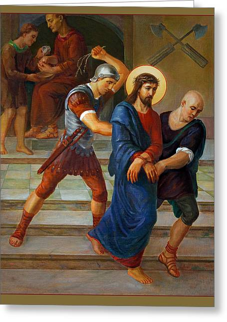 Roman Soldier Greeting Cards - Via Dolorosa - Stations Of The Cross - 1 Greeting Card by Svitozar Nenyuk