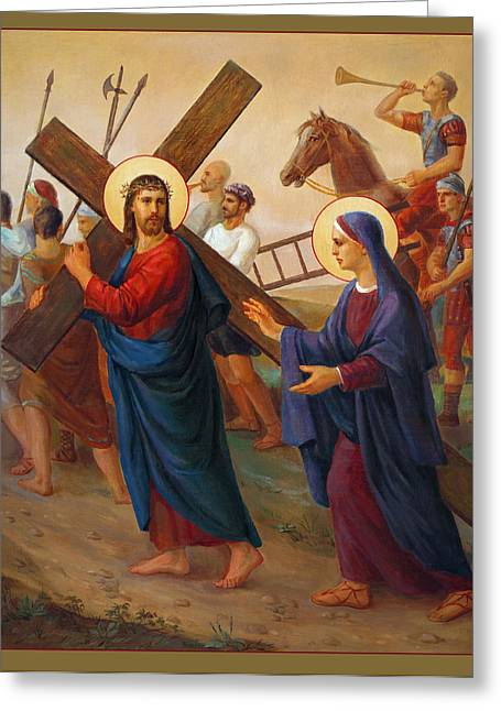 Catholic Art Greeting Cards - Via Dolorosa. Via Crucis. Kreuzweg. 4 Greeting Card by Svitozar Nenyuk