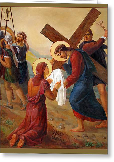 Healer Greeting Cards - Via Dolorosa. Via Crucis. Saint Veronica. 6 Greeting Card by Svitozar Nenyuk
