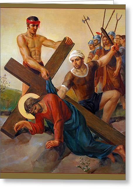 Rosary Greeting Cards - Via Dolorosa - The Second Fall Of Jesus - 7 Greeting Card by Svitozar Nenyuk