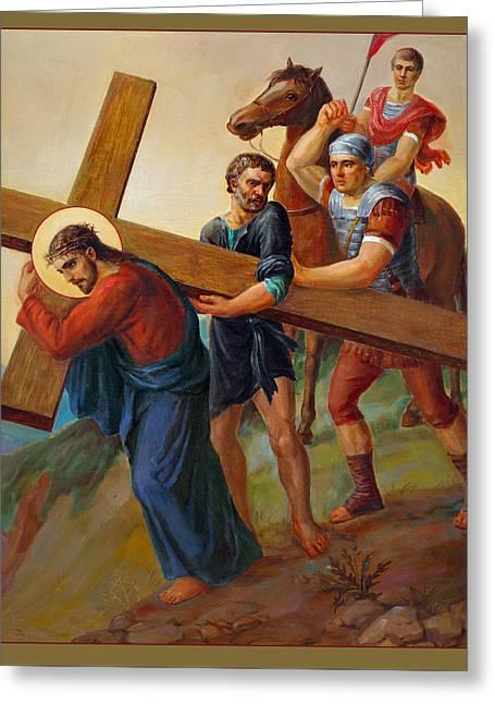 Holy Spirit Greeting Cards - Via Dolorosa - Way Of The Cross - 5 Greeting Card by Svitozar Nenyuk