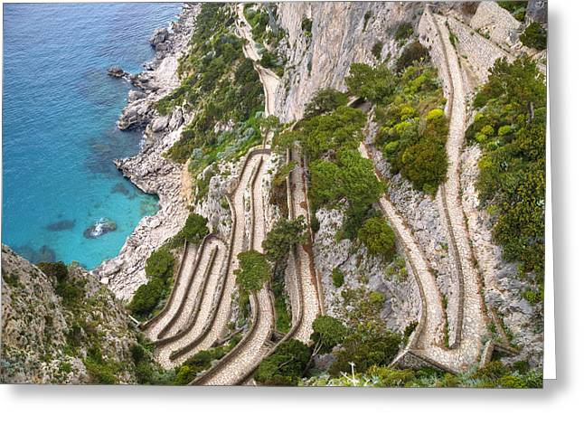 Napoli Greeting Cards - Via Krupp - Capri Greeting Card by Joana Kruse