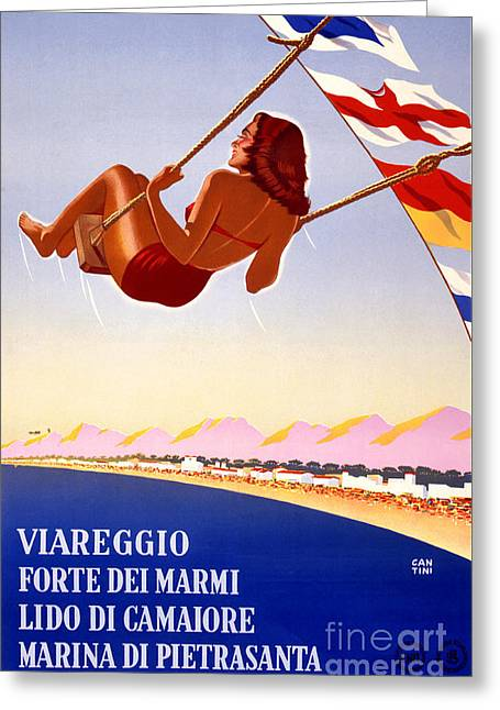 Europe Mixed Media Greeting Cards - Viareggio Italia Italy Vintage Travel Poster Restored Greeting Card by Carsten Reisinger