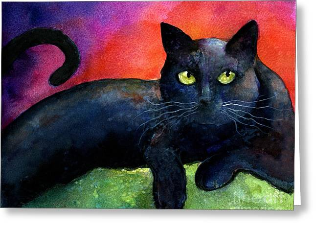 Black Drawings Greeting Cards - Vibrant Black Cat watercolor painting  Greeting Card by Svetlana Novikova