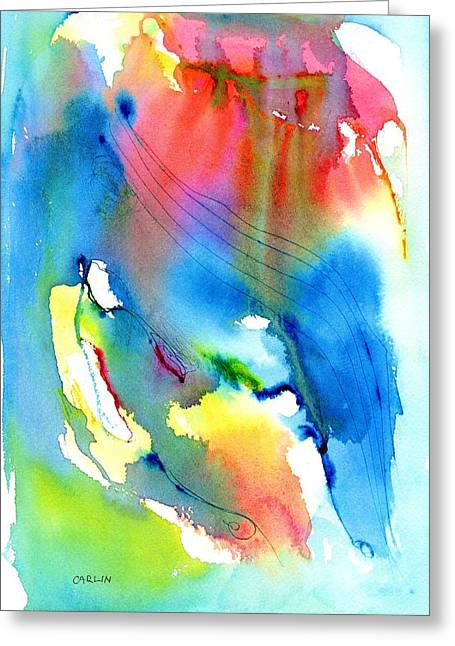 Vibrant Colorful Abstract Watercolor Painting Greeting Card by Carlin Blahnik