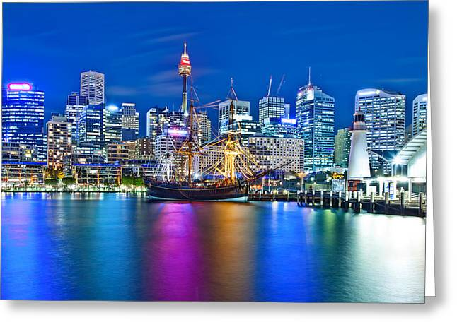 Vibrant Darling Harbour Greeting Card by Az Jackson