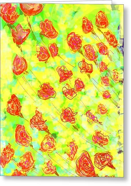 Modern Digital Art Digital Art Greeting Cards - Vibrant flower Greeting Card by Khushboo N