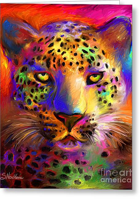 Colorful Animal Art Greeting Cards - Vibrant Leopard Painting Greeting Card by Svetlana Novikova