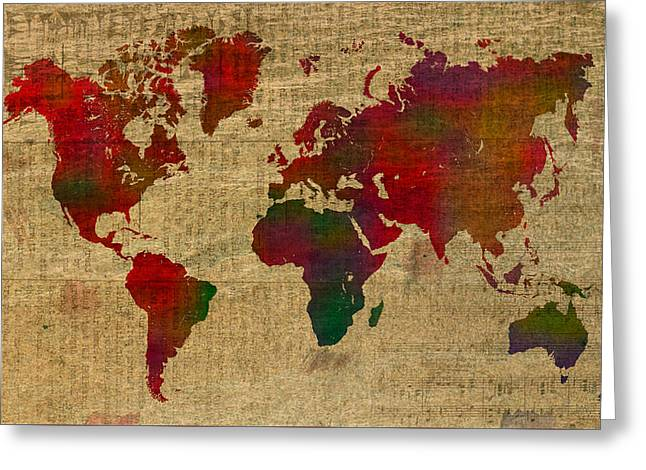 Old Framed Prints Greeting Cards - Vibrant Map of the World in Watercolor on Old Sheet Music and Newsprint Greeting Card by Design Turnpike