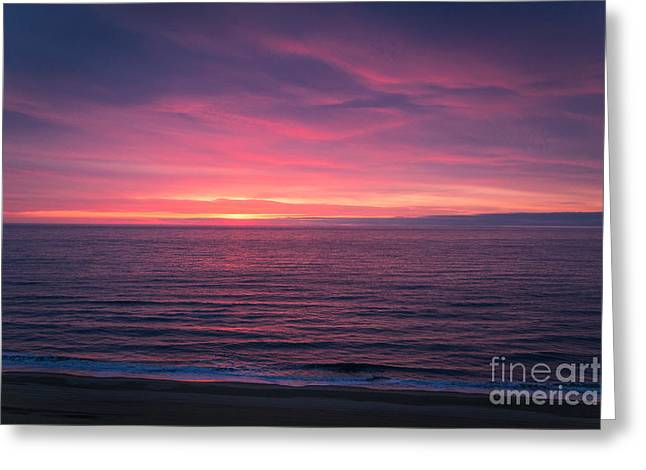 Beach Photography Greeting Cards - Vibrant Ocean Sunrise Greeting Card by Elizabeth  Ann