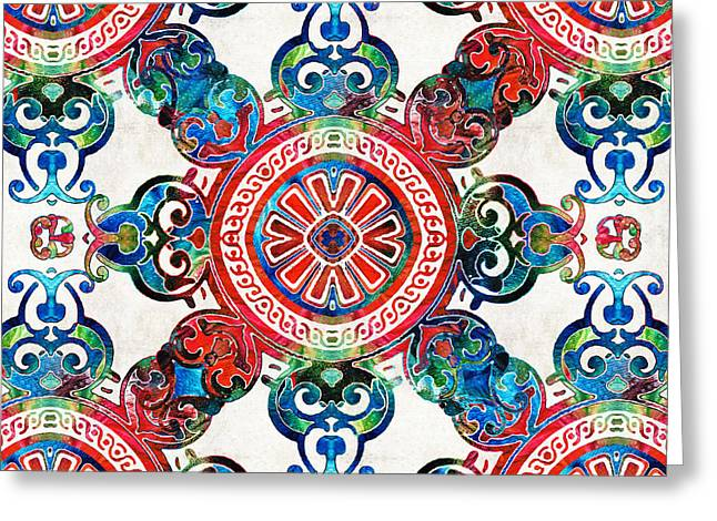 Vibrant Pattern Art - Color Fusion Design 4 By Sharon Cummings Greeting Card by Sharon Cummings