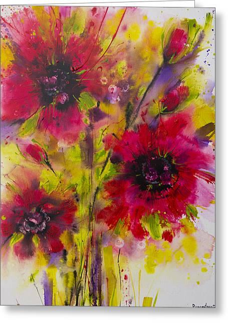 Vibrant Pink Poppies Greeting Card by Irina Rumyantseva