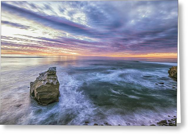 Colorful Cloud Formations Greeting Cards - Vibrant Seascape Greeting Card by Joseph S Giacalone