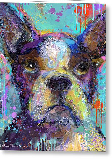 Puppies Print Greeting Cards - Vibrant Whimsical Boston Terrier Puppy dog painting Greeting Card by Svetlana Novikova