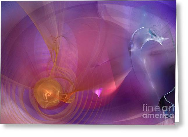 Abstract Digital Photographs Greeting Cards - Vibrations Collide Greeting Card by Linda Troski