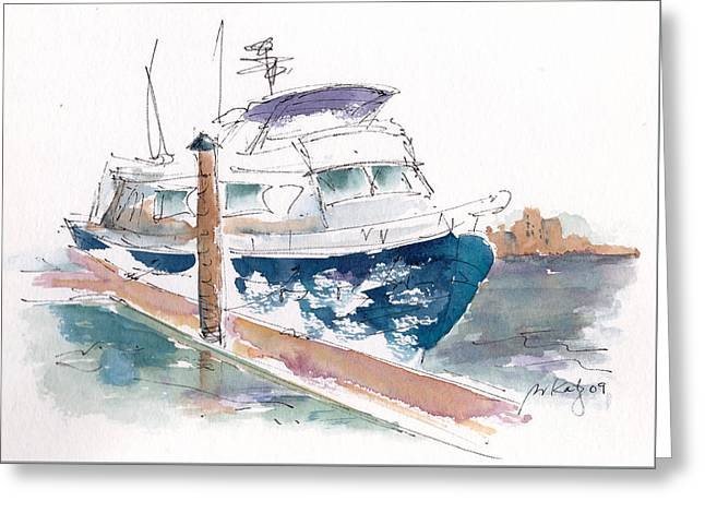 Raw Sienna Greeting Cards - Vic Harbor Boat Greeting Card by Pat Katz