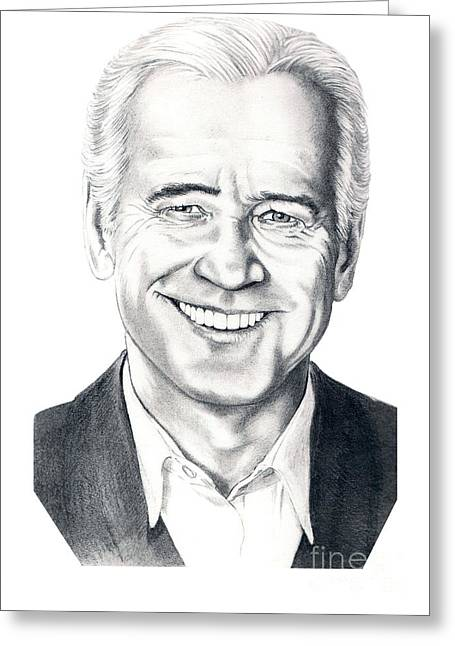 Vice Presidents Greeting Cards - Vice President Joe Biden Greeting Card by Murphy Elliott