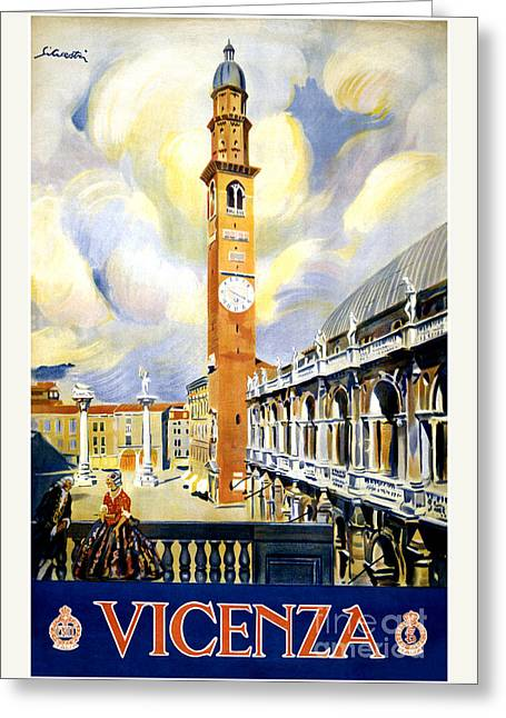 Historical Images Greeting Cards - Vicenza Italy Vintage Travel Poster Restored Greeting Card by Carsten Reisinger