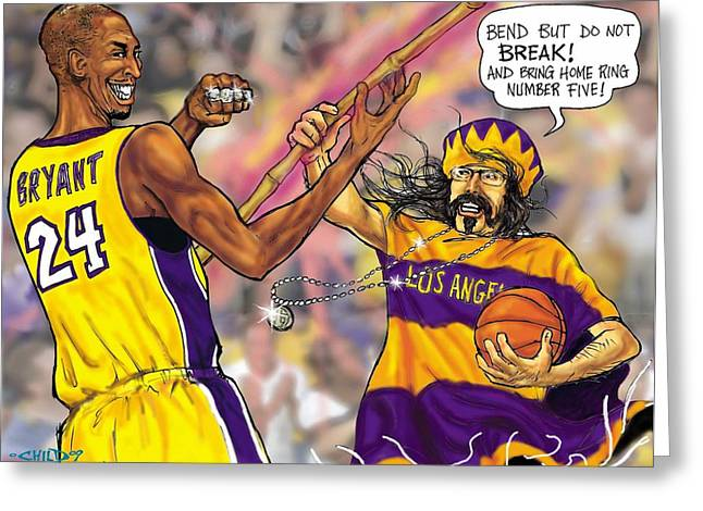 Lakers Mixed Media Greeting Cards - Vick-the-Brick passes The Bamboo Greeting Card by Brian Child