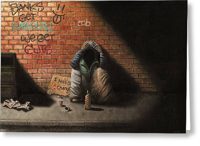 Desperate Paintings Greeting Cards - Victim of Circumstance Greeting Card by Conor OBrien