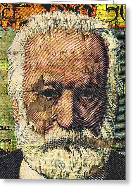 Victor Hugo-cinq Cents Francs Large Greeting Card by Otis Porritt