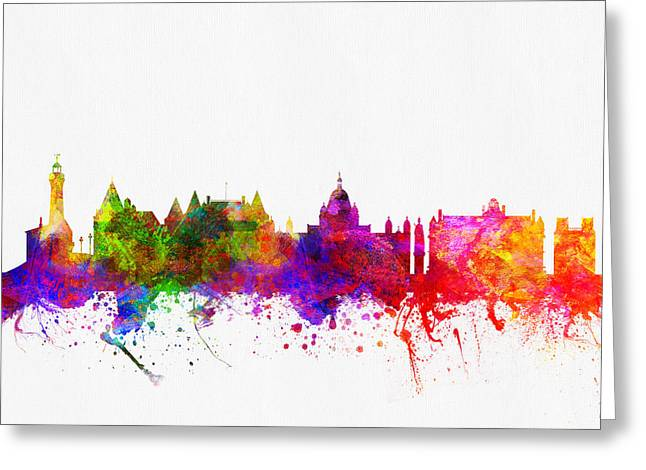 Victoria British Columbia Skyline Color02 Greeting Card by Aged Pixel
