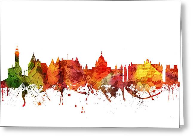 Canadian Drawings Greeting Cards - Victoria Cityscape 04 Greeting Card by Aged Pixel