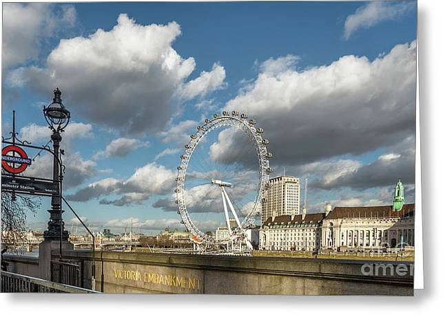Victoria Embankment Greeting Card by Adrian Evans