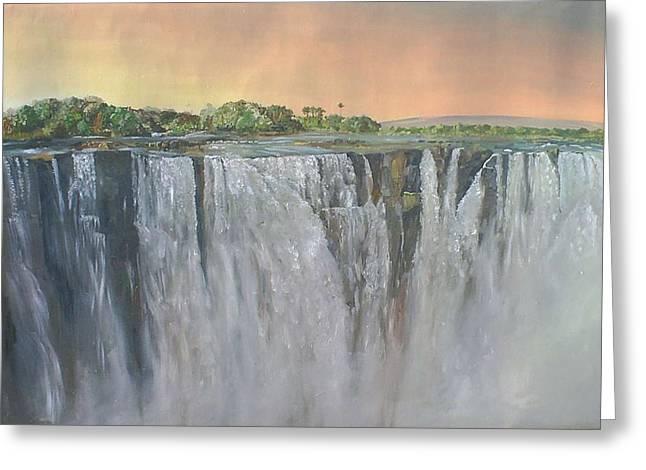 Zimbabwe Pastels Greeting Cards - Victoria Falls Greeting Card by Boarding  Dzinotizei