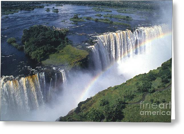 Zimbabwe Greeting Cards - Victoria Falls Rainbow Greeting Card by Sandra Bronstein