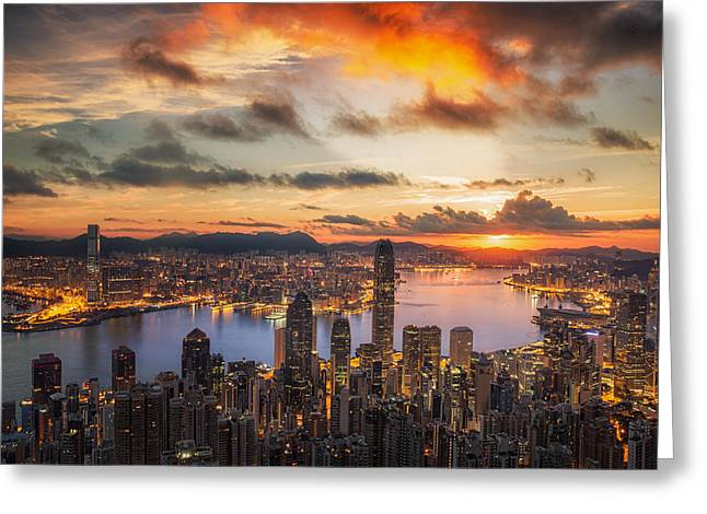 Victoria Harbor Greeting Card by Anek Suwannaphoom