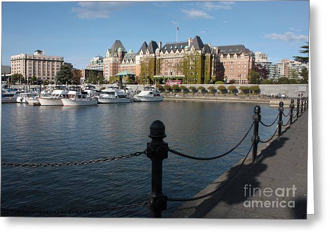 Buildings In The Harbor Greeting Cards - Victoria Harbour with Railing Greeting Card by Carol Groenen