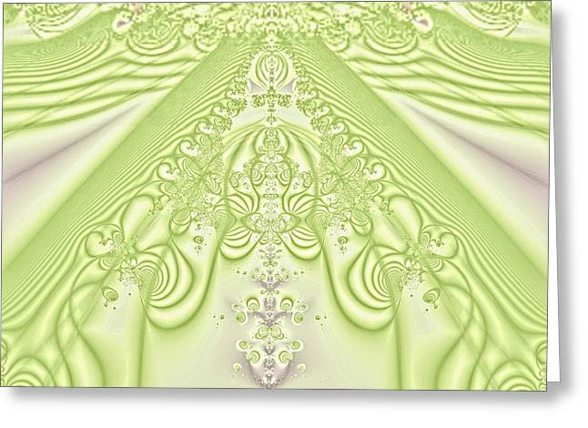White Digital Art Greeting Cards - Victoriam Lime Lace Greeting Card by Linda Phelps